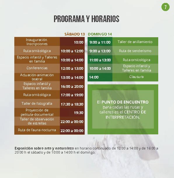 PROGRAMA FESTIVAL DE AVES LA ROCA DE LA SIERRA 2019 Algakon